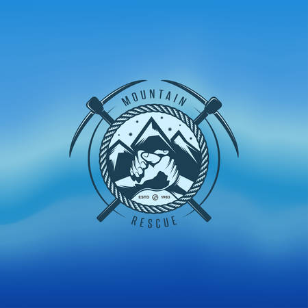ice mountain: Mountain rescue vector vintage label. Logo design element. Illustration