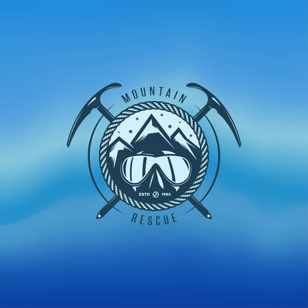 ski resort: Mountain rescue vector vintage label. Logo design element. Illustration