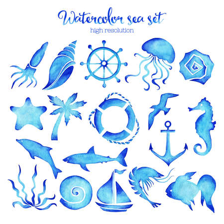 high sea: Watercolor sea set of design elements in high resolution. Stock Photo