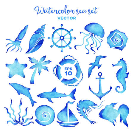 Vector watercolor sea set of design elements. Imagens - 40880036