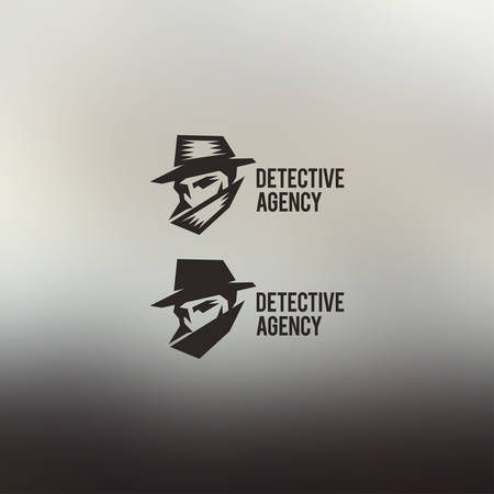 cartoon gangster: Detective agency vector sign. Vintage label. Private detective logo.