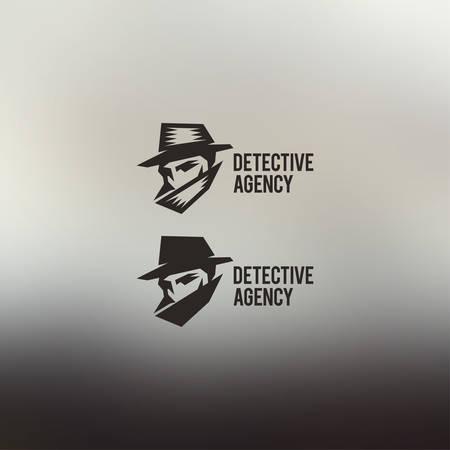 Detectivebureau vector teken. Vintage label. Prive-detective logo. Stock Illustratie