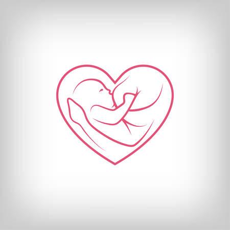 Corazón lactancia materna en forma de signo. Logo en el estilo de línea de última generación. Foto de archivo - 41314671
