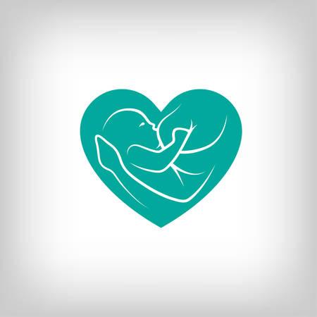 유방 심장 모양의 기호를 먹이. 라인 아트 스타일의 로고.