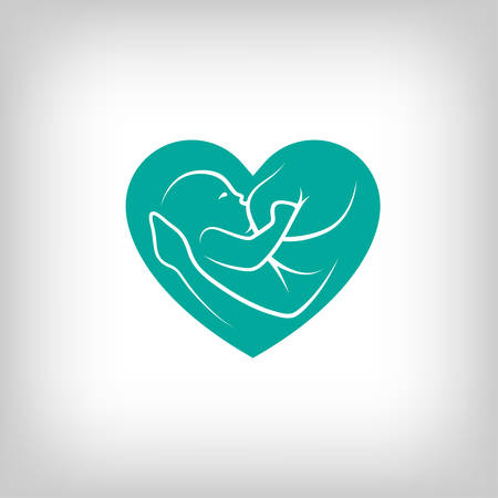 female breast: Breast feeding heart shaped sign. Logo in line-art style.