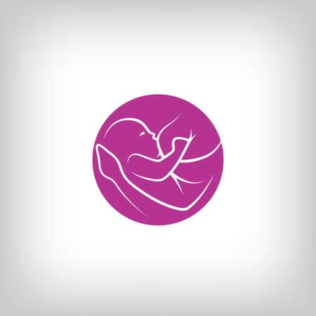 amamantando: Signo de la lactancia materna. Logo en el estilo de línea de última generación. Vectores