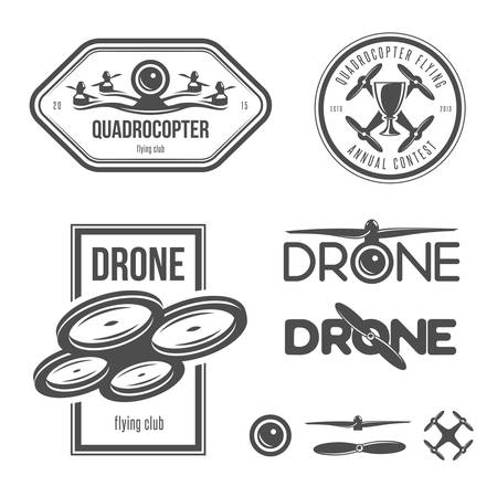 helicopter: Vector set of drone flying club labels, badges and design elements.