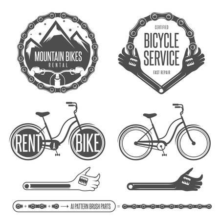 빈티지 자전거 배지와 디자인 요소의 집합