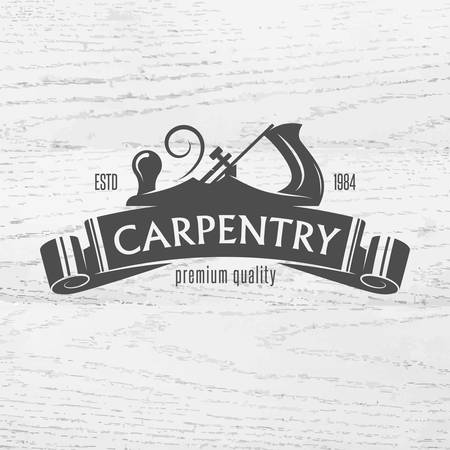 Carpenter design element in vintage stijl voor logo, etiket, kenteken, t-shirts. Timmerwerk retro vector illustratie. Stock Illustratie