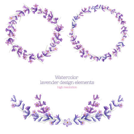 officinalis: Watercolor wreath of lavender in high resolution. Floral design elements. Stock Photo