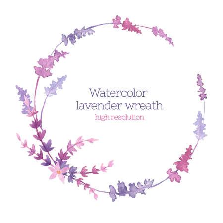 高解像度でラベンダーの水彩の花輪。花のデザイン要素。