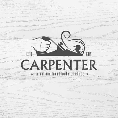 Carpenter design element in vintage style for logo, label, badge, t-shirts. Carpentry retro vector illustration. Vettoriali