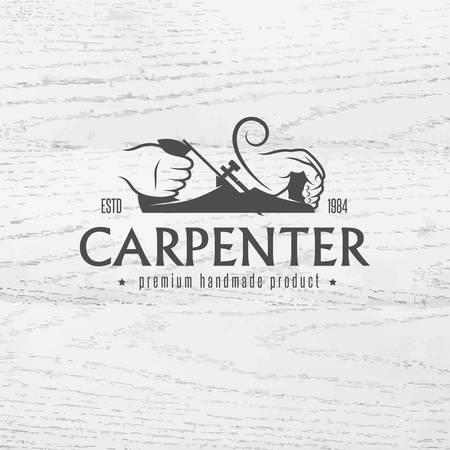 logotipo de construccion: Carpintero elemento de diseño de estilo vintage para el logotipo, etiqueta, placa, camisetas. Carpintería ejemplo retro del vector.