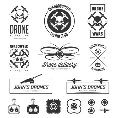 spy camera: Vector set of drone flying club labels, badges and design elements.