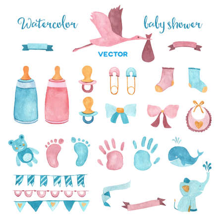 shower: Watercolor baby shower vector set of design elements.