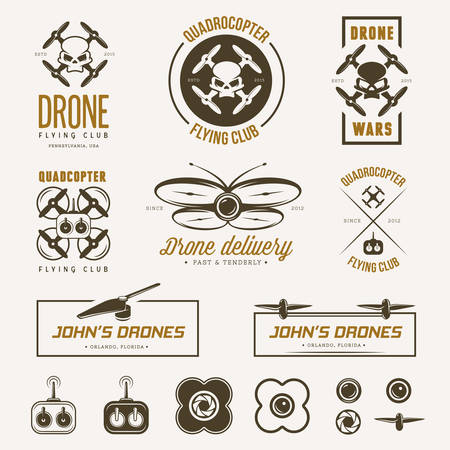 unmanned: Vector set of drone flying club labels, badges and design elements.