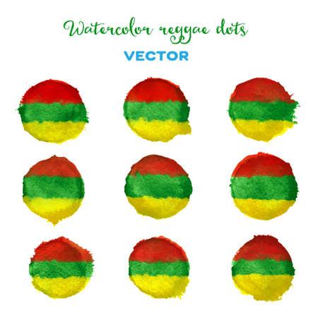 reggae: Vecteur Aquarelle points de style reggae. Autocollants, étiquettes, des éléments de conception. Illustration