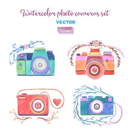 Las cámaras fotográficas de la acuarela del vector fijados. Elementos de diseño aislados.