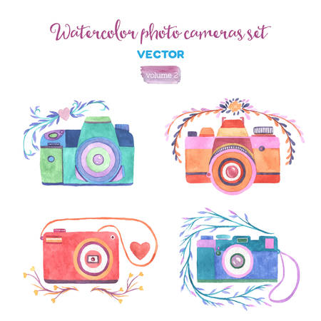 Watercolor vector photo cameras set. Isolated design elements. Illustration