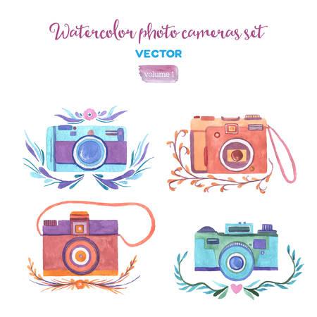 Aquarelle vecteur caméras photo réglé. Isolés des éléments de conception. Banque d'images - 42233320