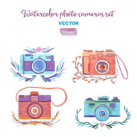 Watercolor vector photo cameras set. Isolated design elements. Ilustrace