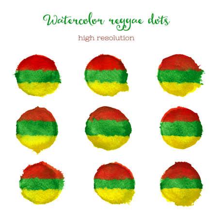reggae: Points de style reggae Aquarelle en haute r�solution.