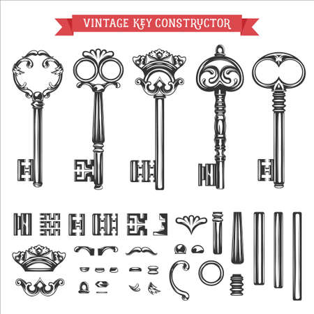 door key: Vintage key constructor. Old keys vector set. Illustration