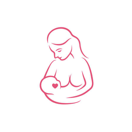 Breast feeding vector sign. Breastfeeding coalition emblem.