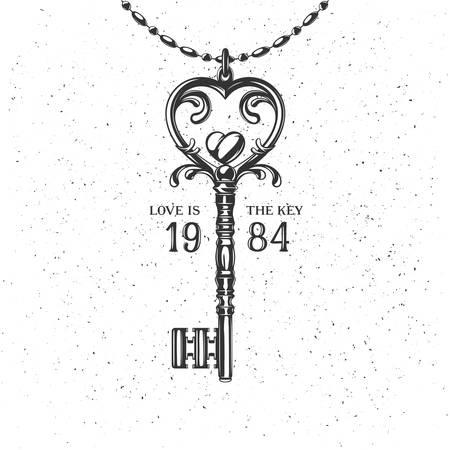 Monochroom vintage label, badge voor affiche of t-shirt. Hart-vormige key met citaat. Liefde is de sleutel. Vector illustratie op grunge achtergrond. Stock Illustratie
