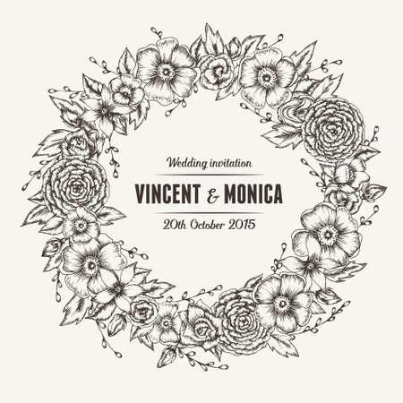 Vector vintage floral wedding invitation. Hand drawn flower wreath.
