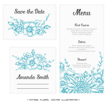 wedding guest: Wedding set. Menu, save the date, guest card. Vintage vector illustration. Illustration