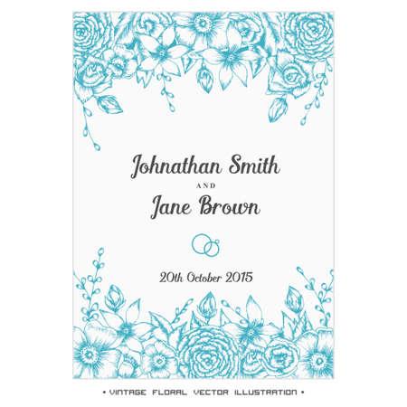 floral border: Vector vintage floral wedding invitation. Hand drawn flower border.