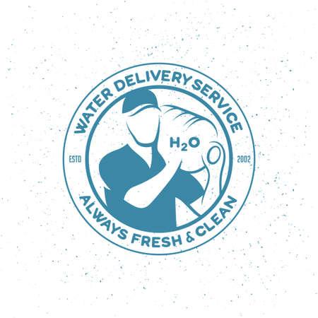 Water delivery service emblem. Delivery man with big bottle on a shoulder. Vector illustration. Vettoriali
