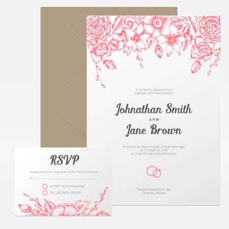 borde de flores: Establece Vector vintage invitación de la boda floral. Dibujado a mano frontera de la flor. RSVP, usted o tarjeta de huésped gracias.