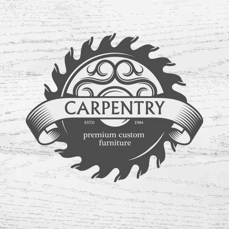 Carpintero elemento de diseño de estilo vintage para, etiqueta, placa, camisetas. Carpintería ejemplo retro del vector. Foto de archivo - 43556743