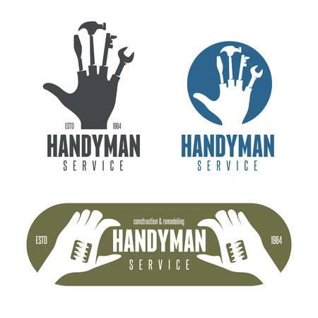 Handyman design element in vintage style for logo, label, badge, t-shirts. Carpentry retro vector illustration. Illustration