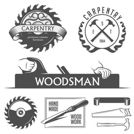 carpintero: Elementos de carpintería y ebanistería de diseño de estilo vintage Vectores