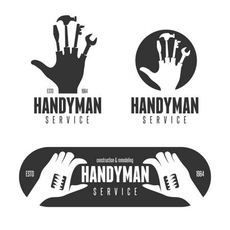ロゴのビンテージ スタイルの便利屋設計要素
