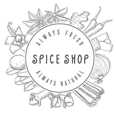 Hand drawn vector spice shop emblem with different spices. Kitchen labels, badges design elements. Illustration