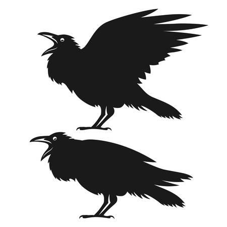 Black ravens set. Design element for t-shirt print, halloween card. Vintage style monochrome illustration. Векторная Иллюстрация