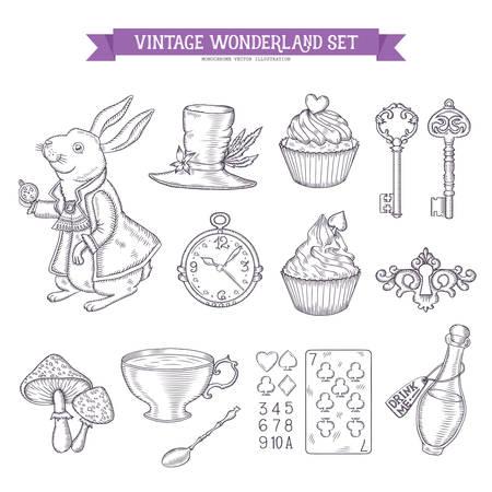 Wonderland hand drawn set of design elements. Vector vintage monochrome illustration.
