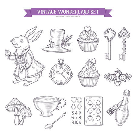 alice: Wonderland hand drawn set of design elements. Vector vintage monochrome illustration.