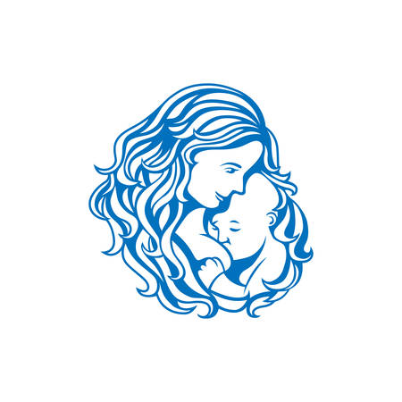 child girl nude: Breast feeding sign. Logo in line-art style. Illustration