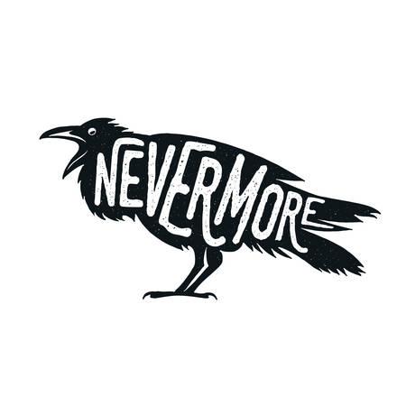 cuervo: Ilustraci�n del cuervo con la palabra nunca m�s. Camiseta, bolso, dise�o de impresi�n de carteles.