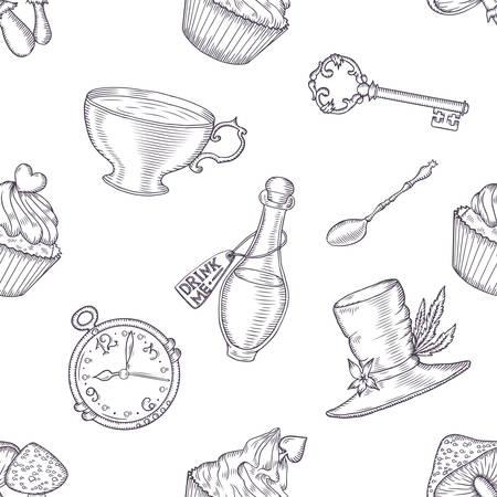 Dibujado a mano de vectores de las maravillas sin patrón. Elementos de diseño de hadas de cuento. Foto de archivo - 44671312