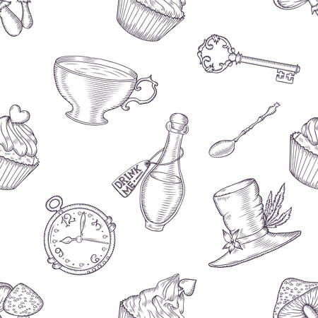 alice: Hand drawn vector wonderland seamless pattern. Fairy tale design elements. Illustration