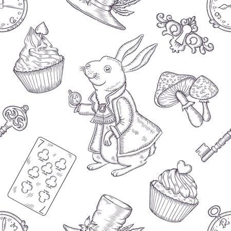 Hand drawn vector wonderland seamless pattern. Fairy tale design elements. Illustration