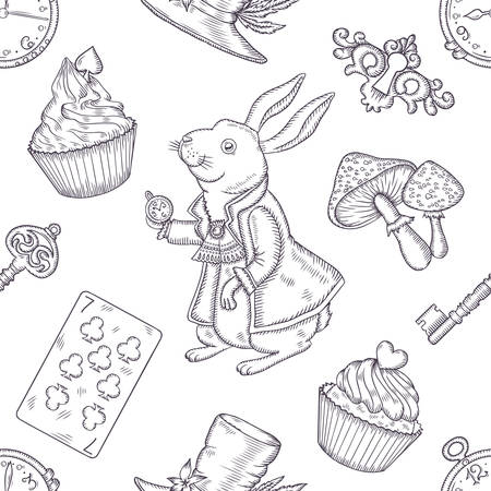 Hand drawn vector wonderland seamless pattern. Fairy tale design elements. Vettoriali