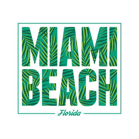 beach party: Miami beach typography. Summer tropical t-shirt graphics print. Vector palm leafs illustration. Illustration