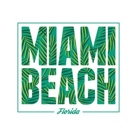 spiaggia: Miami tipografia spiaggia. Estate stampa grafica t-shirt tropicale. Vector foglie di palma illustrazione. Vettoriali